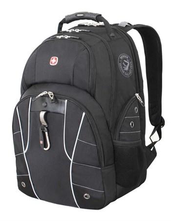 рюкзак , чёрный/серебристый, полиэстер 900D/600D/искуственная кожа, 34x18x47 см, 29 л / Wenger - фото 6069