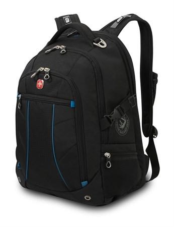 рюкзак , чёрный/синий, полиэстер 900D/рипстоп, 36x19x47 см, 32 л / Wenger - фото 6090
