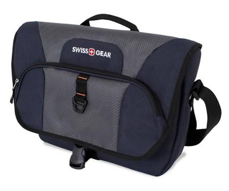 сумка наплечная SWISSGEAR Sport Line, синий/серый, полиэстер 600Dx600D/рипстоп 420X250D, 44x10x29 см - фото 6400
