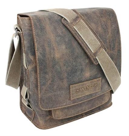 """сумка наплечная вертикальная А4 """"ARIZONA"""", коричневый, кожа, 35х13х36 см / Wenger - фото 6409"""