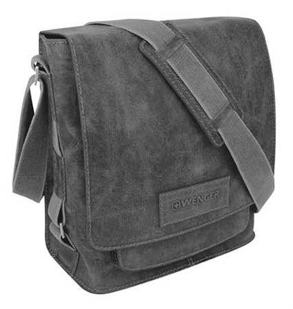 """сумка наплечная вертикальная А4 """"ARIZONA"""", черный, кожа, 35х13х36 см / Wenger - фото 6413"""