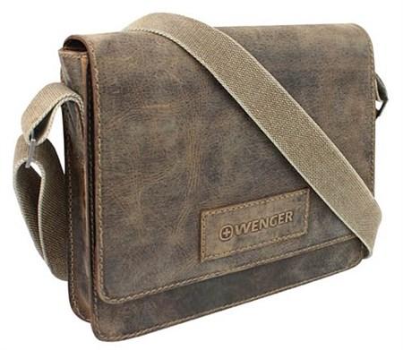 """сумка наплечная горизонтальная А4 """"ARIZONA"""", коричневый, кожа, 30х7x25 см / Wenger - фото 6421"""