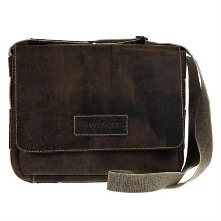"""сумка наплечная горизонтальная А4 """"ARIZONA"""", коричневый, кожа, 39х10x31 см / Wenger - фото 6422"""