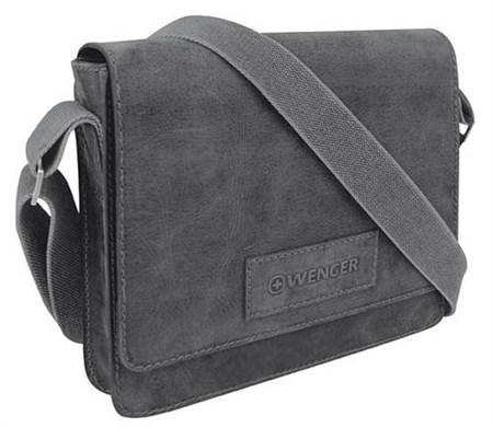"""сумка наплечная горизонтальная А4 """"ARIZONA"""", чёрный, кожа, 30х7x25 см / Wenger - фото 6426"""