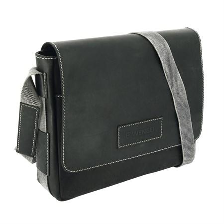 """сумка наплечная горизонтальная А4 """"ARIZONA"""", чёрный, кожа, 39х10x31 см / Wenger - фото 6427"""
