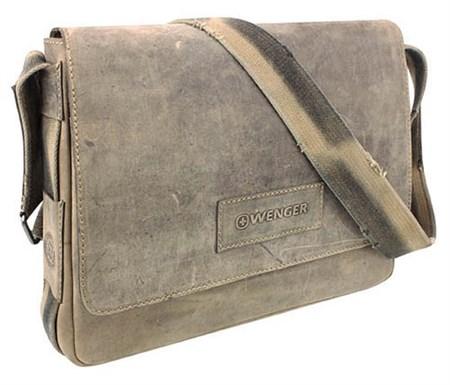 """сумка наплечная горизонтальная А4 """"STONEHIDE"""", коричневый, кожа, 39х10x31 см / Wenger - фото 6428"""