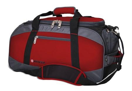 сумка спортивная , красный/серый/чёрный, полиэстер 1200D, 52х25х30 см, 39 л / Wenger - фото 6429