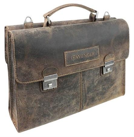 """портфель двусторонний """"ARIZONA"""", коричневый, кожа, 40x11x31 см / Wenger - фото 6480"""