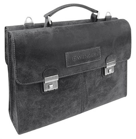 "портфель двусторонний ""ARIZONA"", чёрный, кожа, 40x11x31 см / Wenger - фото 6482"