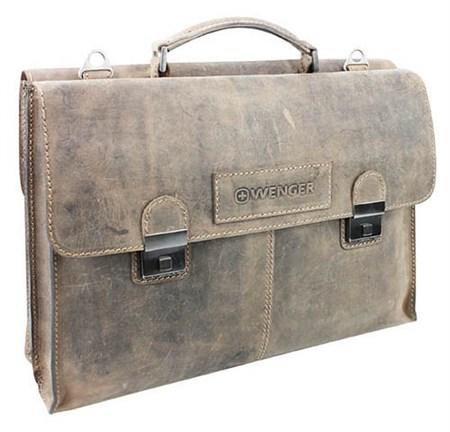"""портфель двусторонний """"STONEHIDE"""", коричневый, кожа, 40x29x13 см / Wenger - фото 6484"""