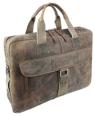 """портфель на молнии """"ARIZONA"""", коричневый, мягкая кожа, 55x11x40 см / Wenger - фото 6486"""