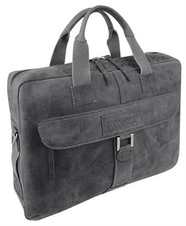 """портфель на молнии """"ARIZONA"""", чёрный, мягкая кожа, 55x11x40 см / Wenger - фото 6487"""