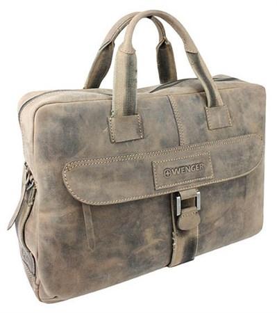 """портфель на молнии """"STONEHIDE"""", коричневый, кожа, 55х11x40 см / Wenger - фото 6488"""