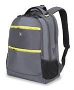 Рюкзак WENGER, серый/салатовый ,полиэстер 900D, 46х33х19 см, 28 л
